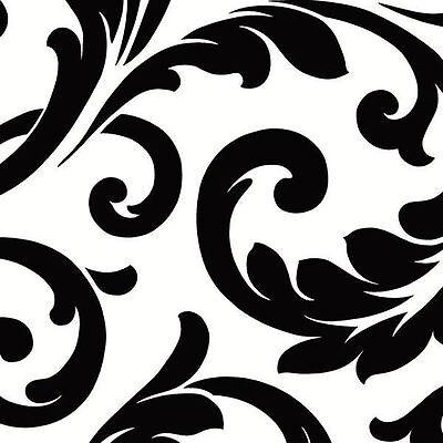 Black & White Bold Scroll Large Pattern Wallpaper VG26237P