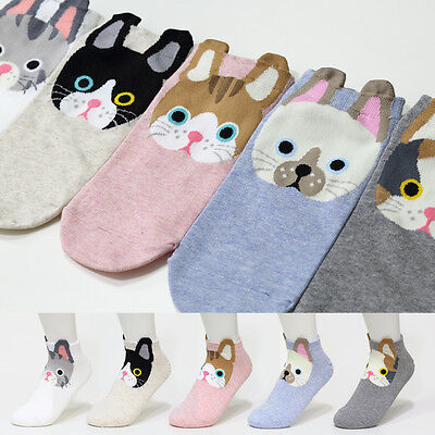 5 Pairs Funny Cute Cat Character Socks Women Boy Girl Big Kids New Cartoon Socks
