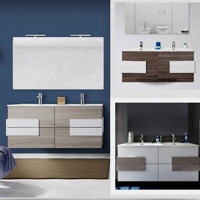 Mobile da bagno sospeso doppio lavabo con specchio design moderno arredo bagno T