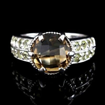 10 mm Smoky Quartz Checkerboard Cut Cascading Peridot Sterling 925 Ring Size 7 Checkerboard Cut Peridot Ring