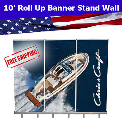 Retractable Roll Up Banner Stand Wall 10 Trade Show Display Free Shipping