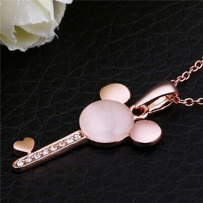 - Women's Jewelry Rose Gold Mickey Mouse Shaped Key Pendant Charm Necklace 49-7