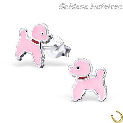 Hund Pudel Ohrstecker 925 Silber Ohrringe Mädchen Damen Geschenkidee z-11 (Rosa Pudel)