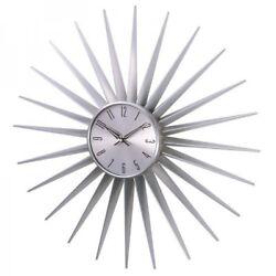Midcentury Modern Sunburst Clock Silver
