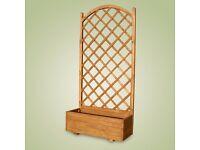 WOODEN SQUARE GARDEN PLANTER & LATTICE 90x40x180 cm - pot with lattice from £ 30