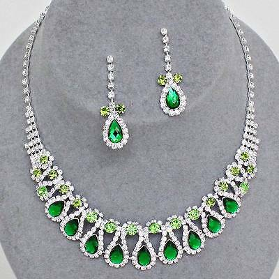 Chunky Green Crystal Silver Chain Earring Necklace Set Fashion Costume Jewelry