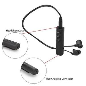 Overfly Sport Wireless Bluetooth Headset Collar Clip Earphone - With Microphone - Mini Portable Stereo Music - Black