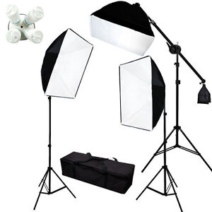 2000w Photograpy 3 Softbox Boom Stand Continuous Lighting Kit Photo Studio Video