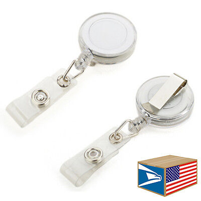 Retractable Reel White Id Badge Holder Belt Clip Key Chain Tag Lot 51050100