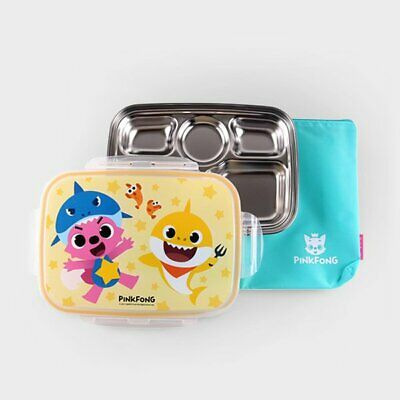 PINKFONG Baby Shark Steel Divided Food Tray Meal Snack Plate Lunch Box For Kids