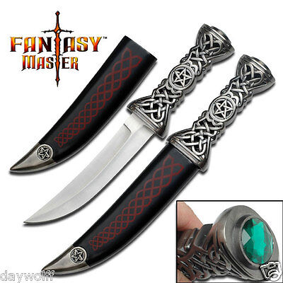 "Athame Heavy Celtic Pentagram 12"" Stainless Steal Blade, Dagger Ritual Knife,"