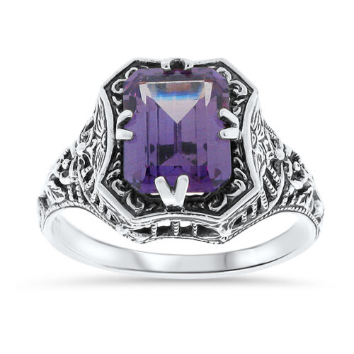 COLOR CHANGING LAB ALEXANDRITE .925 STERLING SILVER ANTIQUE STYLE RING,      #19