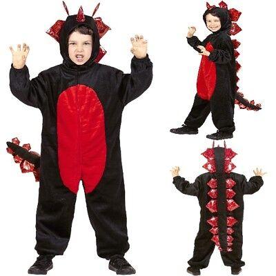 DRACHE Kinder Kostüm 128 cm 5-7 J. Drago Plüsch Drachen Overall schwarz  #6863