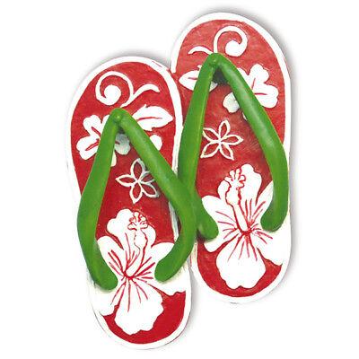 Hawaiian Christmas Ornaments Santa Claus Hibiscus Slippers Poly Resin Hawaii NIB - Hawaiian Christmas Ornaments