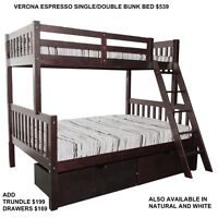 SINGLE/ DOUBLE BUNKS GREAT STYLES AT MIKES STARTING AT $449