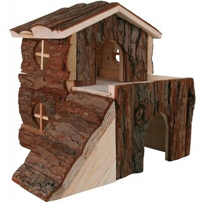 TRIXIE 2 Storey Bjork House with Ramp Natural Wood Hamster Guinea Pig Hide House 1