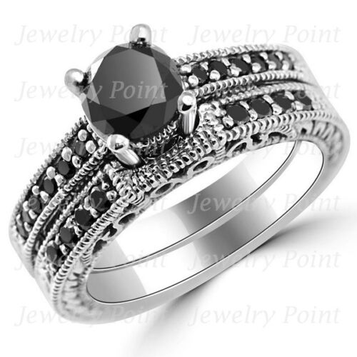1.60ct Black Diamond Matching Engagement Ring Wedding Band Set 14k White Gold