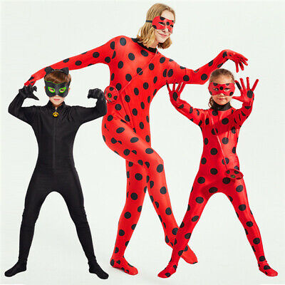Lady Bug Party (Lady Bug Costume Cat Noir Party Kids girls Halloween Cosplay jumpsuit)