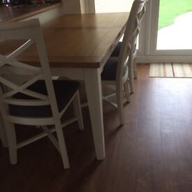 Oak and Cream Painted Large Table and 4 chairs Padstow / Wadebridge