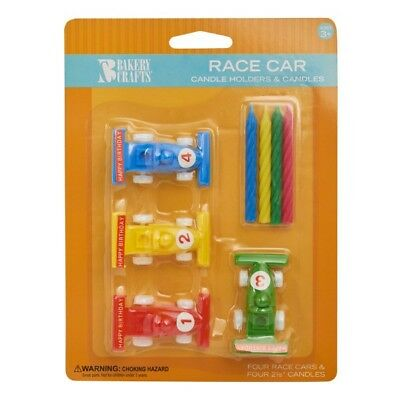 Race Car Candle Holders Birthday Cake Topper Party Favors - Car Birthday Cake