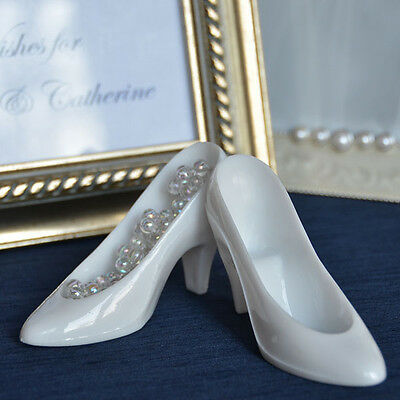 8 White Cinderella Glass Slippers Cake Topper Wedding Decoration - Plastic Glass Slippers