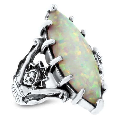GODDESS RING WHITE LAB OPAL VICTORIAN .925 STERLING SILVER,#615