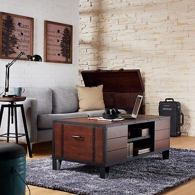 تربيزه جديد Rustic Industrial Coffee Table Vintage Wood Sofa Furniture Living Room Storage