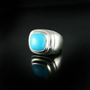 Men's Sterling Silver-Turquoise Ring & Silver and Diamond Ring