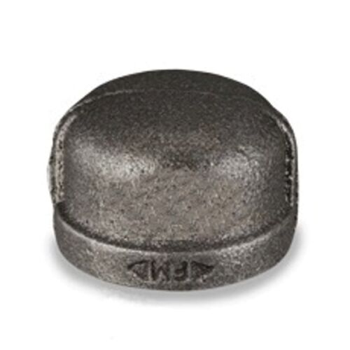 """2"""" INCH CAP BLACK MALLEABLE IRON PIPE FITTINGS THREADED PLUMBING - P6659"""