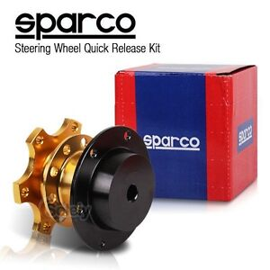 SPARCO Gold Steering Wheel Quick Release Hub Adapter Removable Snap Off Boss Kit