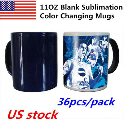 Aaa 36pcs 11oz Blank Sublimation Full Color Changing Mugs Black Glossy Magic Cup