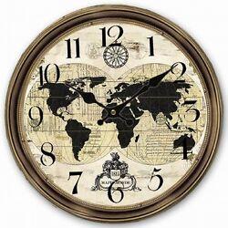 Retro Vintage Large Clock World Map Globe Home Decorative Wall Clock Wood 34CM