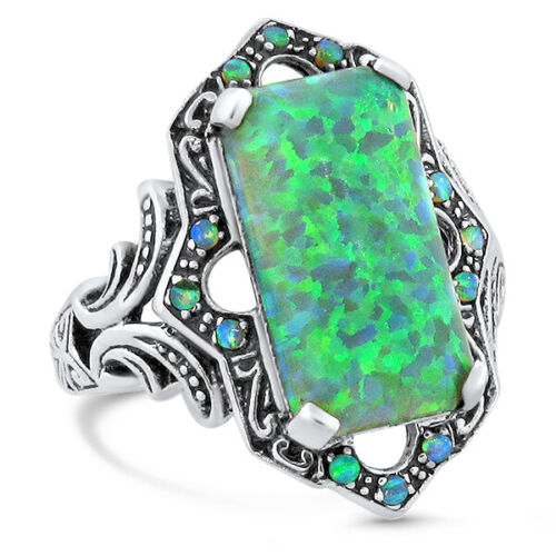 VICTORIAN ANTIQUE STYLE INTENSE GREEN LAB FIRE OPAL 925 SILVER RING SIZE 8  #460