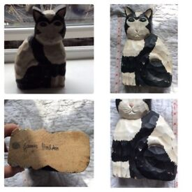 """James Haddon Hand curved wooden cat Length 8.5"""" 8.5"""" x 5.5 x 2.8"""""""