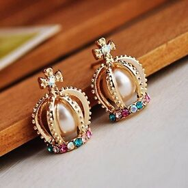 Exquisite Style Rhinestone Inlaid Faux Pearl Embellished Crown Shape Women's