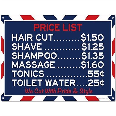 Barber Shop Prices Funny Metal Sign Vintage Style Bathroom Decor 16 x 12
