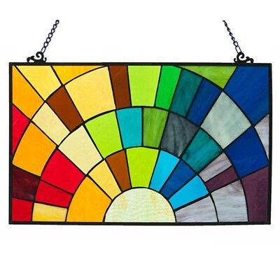Stained Glass Rainbow Window Panel Handcrafted Tiffany Style 20