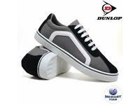 Ladies Dunlop Grey Black Canvas Lace-Up Trainer Pumps Sizes 3-8