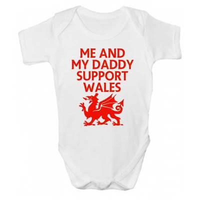 Me And Daddy Support Wales Baby Grow - Rugby Football Babies Clothing - Daddy And Me Clothing