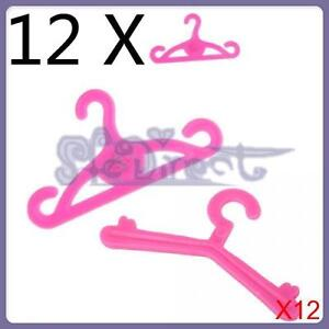 12X 12PCS Random Style DOLL ACCESSORIES 12 FILIGREE CLOTHES HANGERS for Barbie