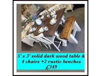 Solid wood table & chairs + optional 2 Rustic benches , vintage, shabby chic