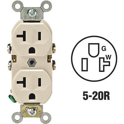 10-Leviton 20A 3-Wire Almond Shallow 5-20R Duplex Electric Outlet S06-0BR20-0TS