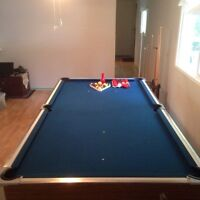 Pool table with cues, balls and snooker