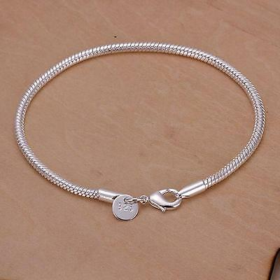 Beads Silver Chain Bracelet - Fashion WOMEN 925 Silver 3MM Snake chain Bracelet for DIY Beads jewelry