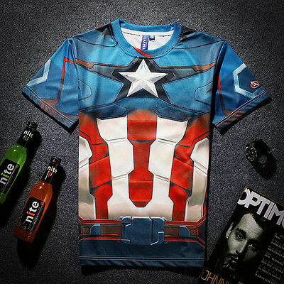 Captain America T-shirt [costume marvel comics superhero fresh graffiti hipster]](Unused Superhero Costumes)