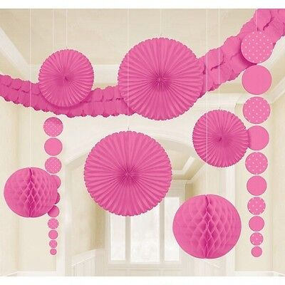 Bright Pink 9 Piece Decorating Kit - 9 Party / Event Decorations - New & Sealed