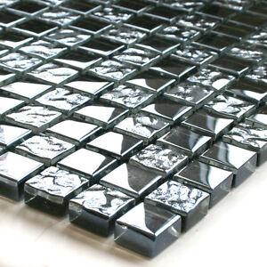 glasmosaik fliesen schwarz metall getrommelt ebay. Black Bedroom Furniture Sets. Home Design Ideas