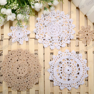 White Beige 24x Vintage Bulk Lace Linen Cotton Crochet Doilies Home Table Decor