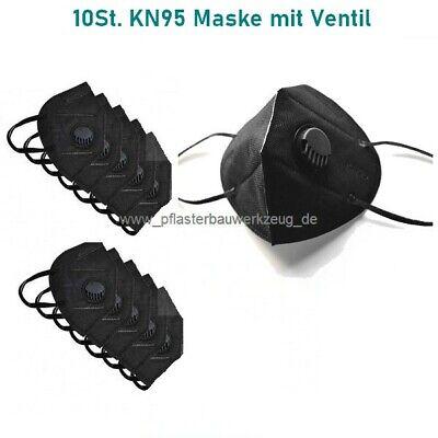10 Stück waschbare 5-lagige KN95 Masken mit Ventil schwarz, ( ähnlich wie FFP2 )