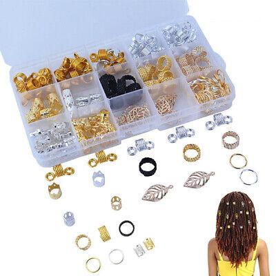 1 Box Braid Hair Beads Dreadlocks Cuff Clip Beads Rings For Hair Extensions](Hair Clips For Dreadlocks)